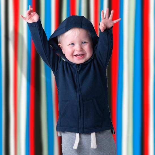 felpa con cappuccio e zip da neonato personalizzata