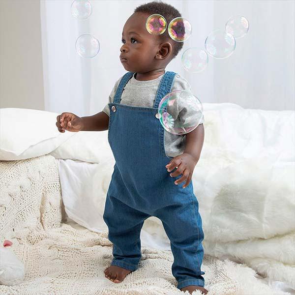Body Neonato Personalizzato a Salopette in jeans