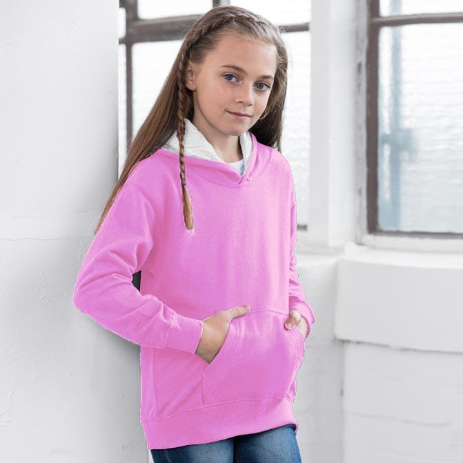 felpe con cappuccio bicolor personalizzate da bambino busto rosa