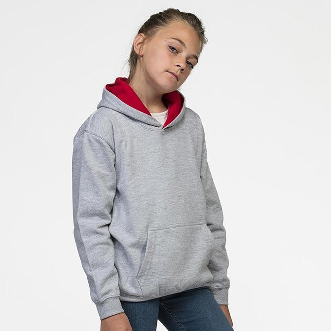 felpe con cappuccio bicolor personalizzate da bambino busto grigio chiaro