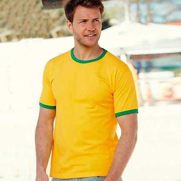 maglietta personalizzata uomo ringer gialla orlo verde